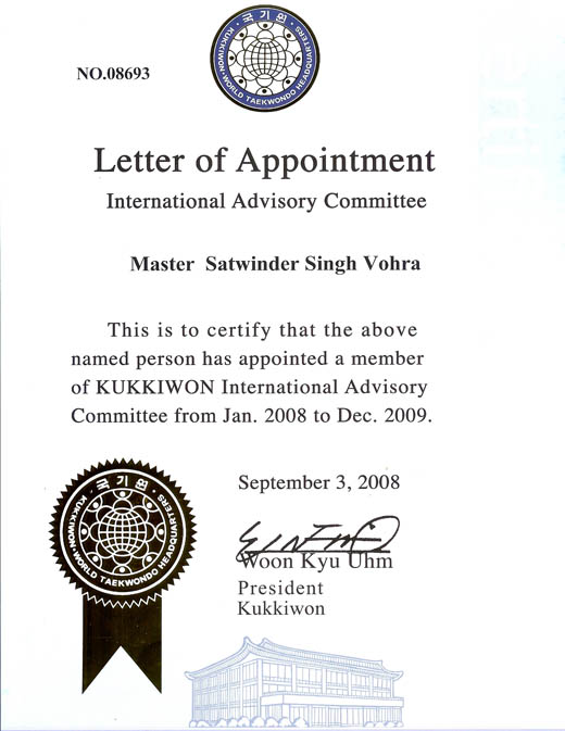 Letter of appointment vohra martial arts offering international letter of appointment vohra martial arts offering international membership in kukkiwon taekwondo other asian martial arts altavistaventures Choice Image